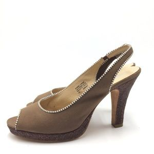 Tribeca by Kenneth Cole Canvas Slingback Heels